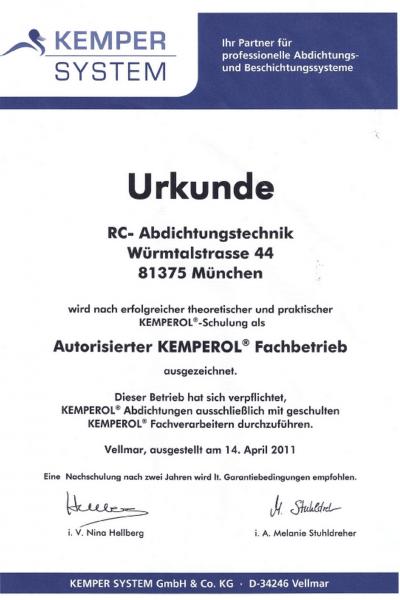 Kemperol-Zertifikat